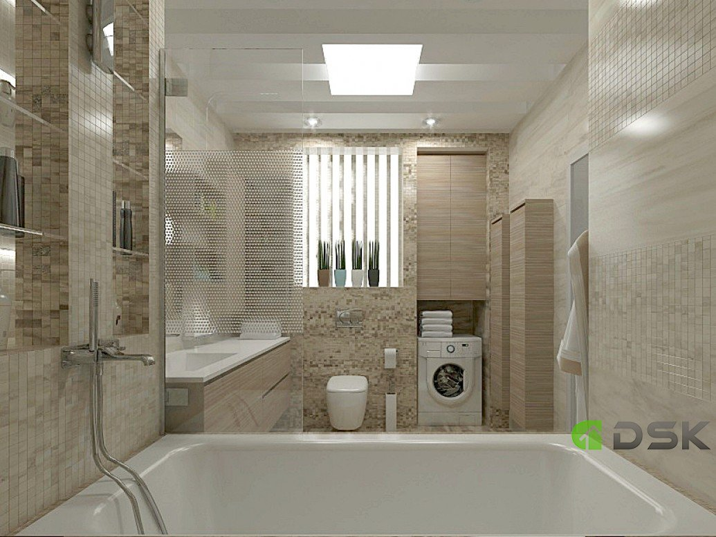 Дизайн проект ванной комнаты в двухкомнатной квартире 54 кв.м.