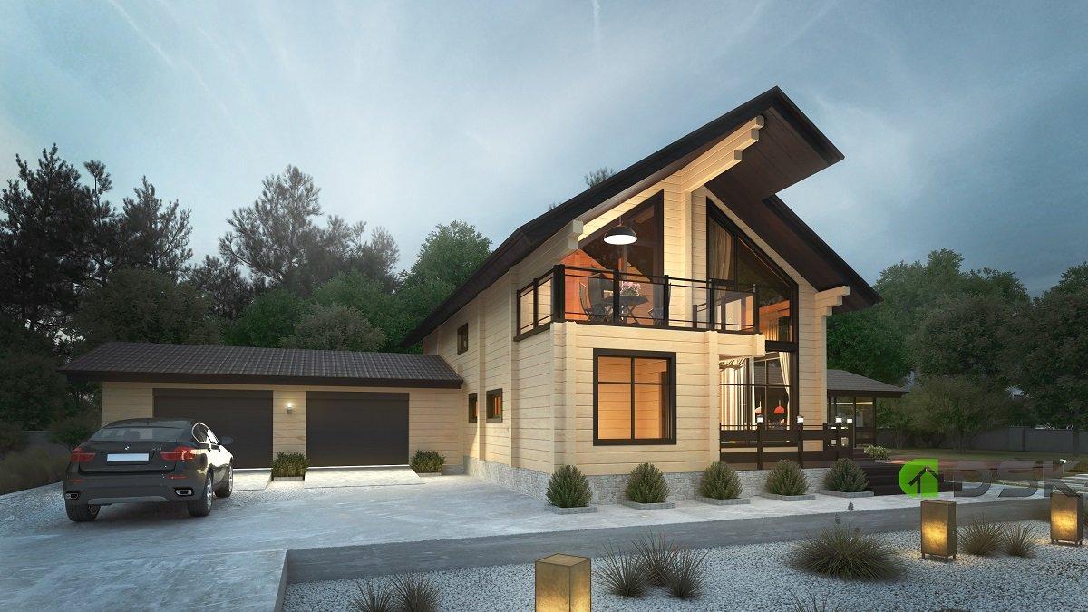 двухэтажный брусовый дом 299 кв.м. вид 2
